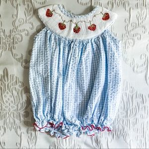 Other - Blue and White Strawberry Seersucker Romper